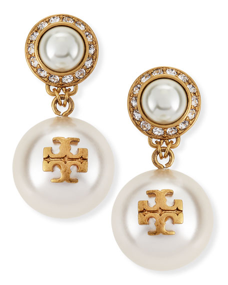 Tory Burch Selma Pearly Drop Earrings, Ivory