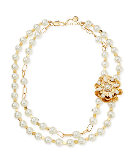 Tilde Double-Strand Pearly Necklace, Ivory