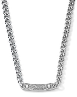Michael Kors  Pave-Bar Chain-Link Necklace, Silver Color