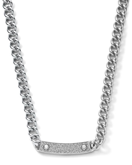 Pave-Bar Chain-Link Necklace, Silver Color