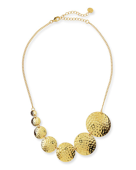 Hammered Circles Necklace, Gold Plate