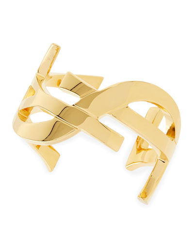 Saint Laurent Golden YSL Logo Cuff Bracelet