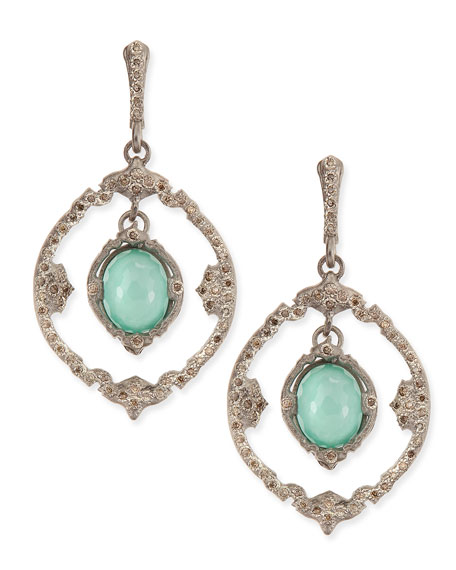 New World Silver Iris Oval Drop Earrings