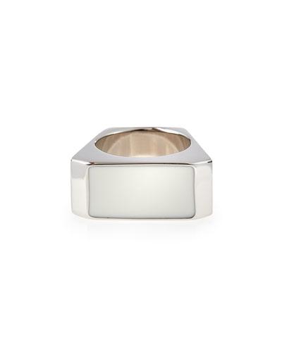 White/Silvertone Colorblock Ring
