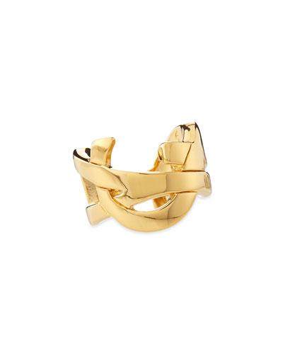 Golden YSL Logo Ring