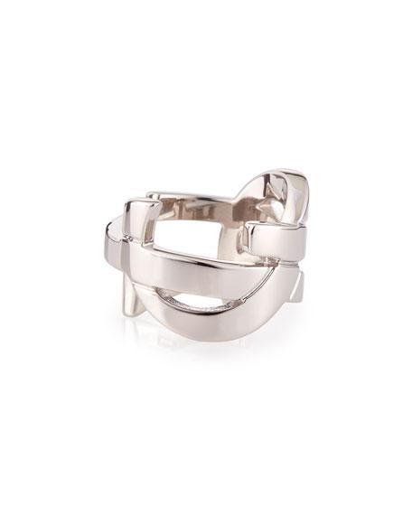 Silvertone YSL Logo Ring