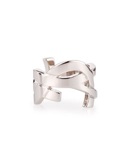 Saint Laurent Silvertone YSL Logo Ring