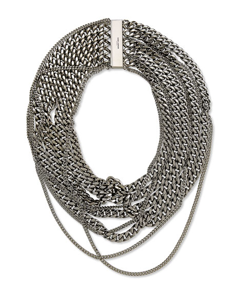 Saint Laurent Silvertone Multi-Chain Choker Necklace