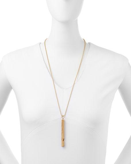 Metal Cylinder Whistle Necklace, Golden