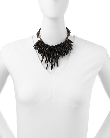 Riverstone Beaded String-Cluster Choker Necklace, Black