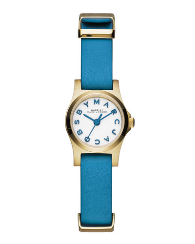MARC by Marc Jacobs Henry Dinky Analog Watch with Leather Strap, Golden/Blue