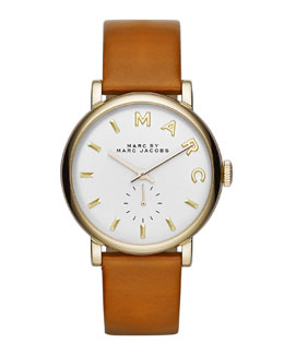 MARC by Marc Jacobs Baker Analog Watch with Leather Strap, Stainless/Tan