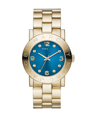 MARC by Marc Jacobs 36mm Amy Crystal Analog Watch with Bracelet Strap, Golden/Blue