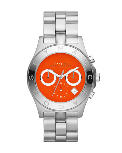 MARC by Marc Jacobs Blade Stainless Steel Chronograph Watch with Red Dial