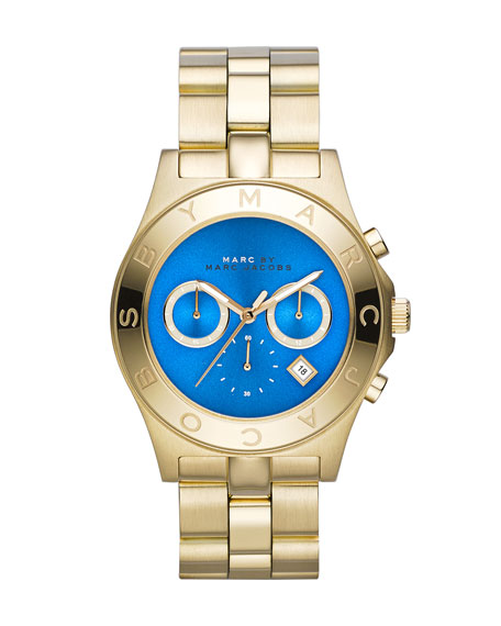 Blade Golden Chronograph Watch with Blue Dial