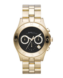 MARC by Marc Jacobs Blade Golden Chronograph Watch with Black Dial