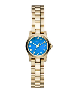 MARC by Marc Jacobs Henry Dinky Analog Watch with Bracelet, Yellow Golden/Blue