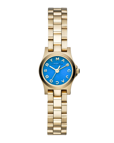 Henry Dinky Analog Watch with Bracelet, Yellow Golden/Blue