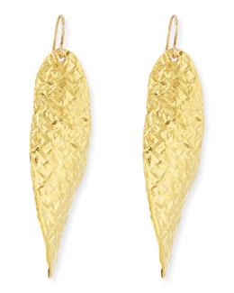 Devon Leigh 18k Gold Dipped Textured Wave Earrings