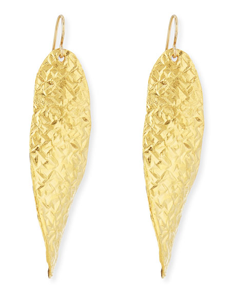 Devon Leigh18k Gold Dipped Textured Wave Earrings