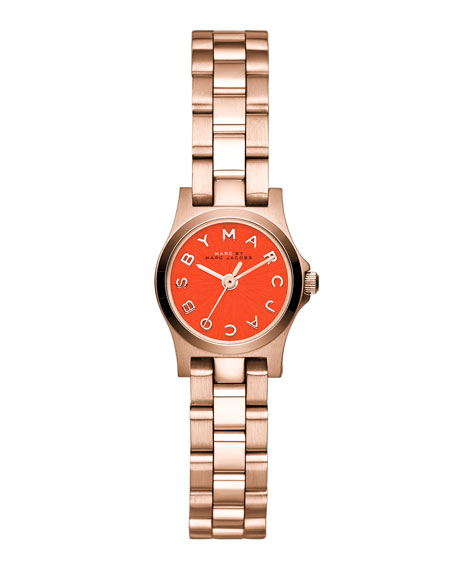 Henry Dinky Analog Watch with Bracelet, Rose Golden/Red