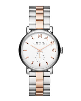 MARC by Marc Jacobs 36mm Baker Analog Watch with Bracelet Strap, Stainless Steel/Rose Golden