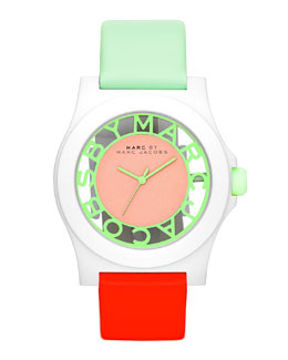 MARC by Marc Jacobs Colorblock Henry Skeleton Watch with Leather Strap, White/Mint/Coral