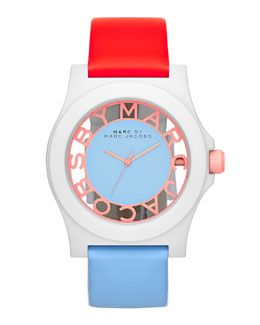 MARC by Marc Jacobs Colorblock Henry Skeleton Watch with Leather Strap, White/Coral/Ice
