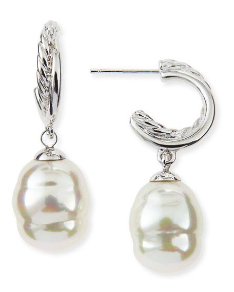 Rhodium-Plated Hoop & Pearl Drop Earrings