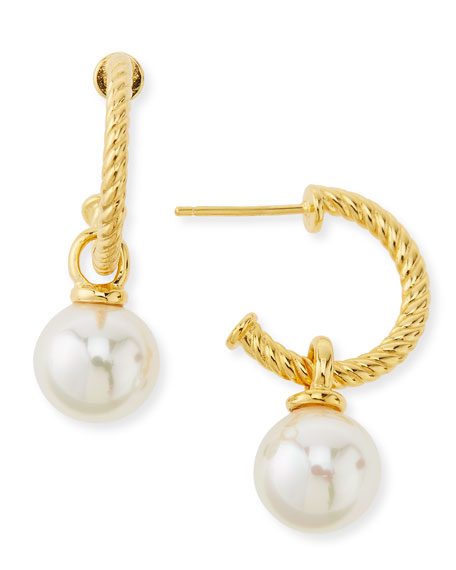 Gold-Plated Hoop & Pearl Drop Earrings