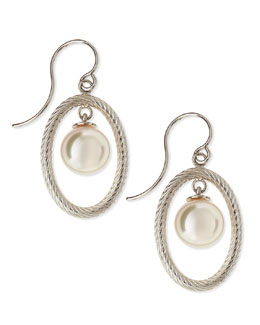 Majorica 10mm Pearl-Drop Silver Oval Earrings
