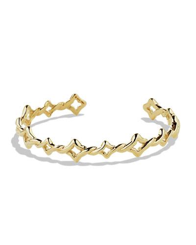 David Yurman Venetian Quatrefoil Single-Row Cuff Bracelet in Gold