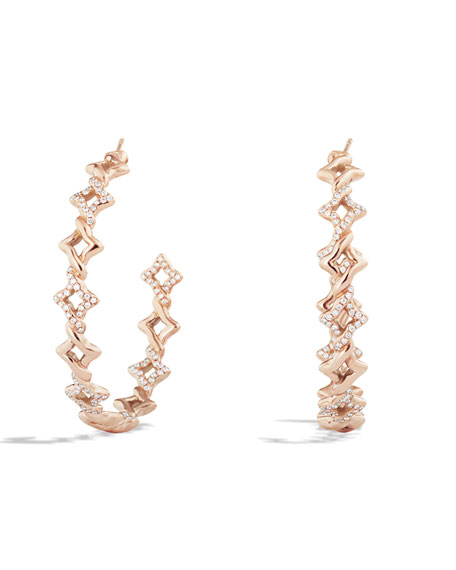 Venetian Quatrefoil Hoop Earrings with Diamonds in Rose Gold