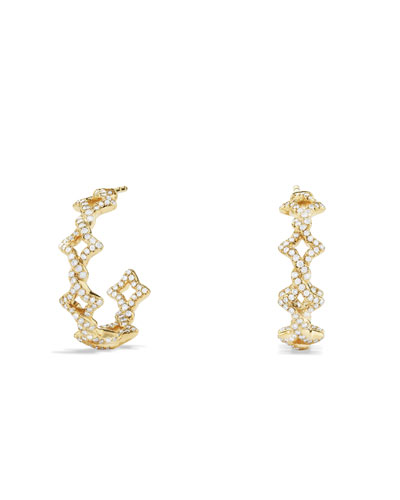 David Yurman Venetian Quatrefoil Hoop Earrings with Diamonds in Gold