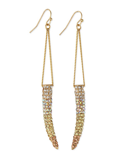 Sequin Gradient Pave Horn Dangle Drop Earrings