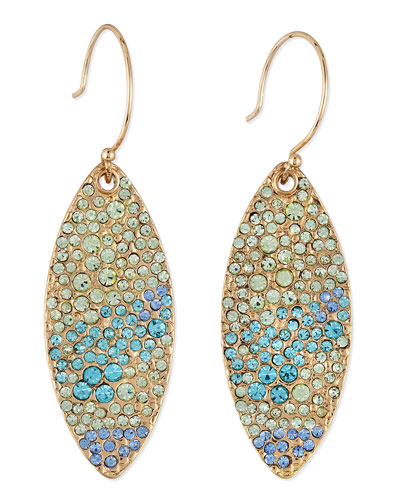 Sequin Pave Petal Dangle Earrings, Orange