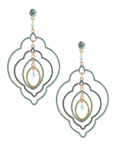 Multilayer Deco Earrings, Blue Multi