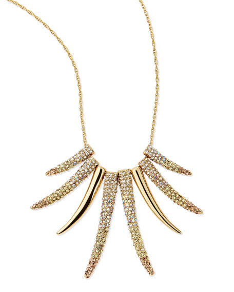 Pave Horn Gradient Long Necklace, Gold