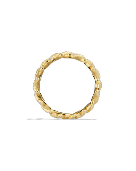 Quatrefoil Stacking Ring with Diamonds in Gold