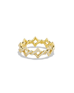 David Yurman Quatrefoil Stacking Ring with Diamonds in Gold