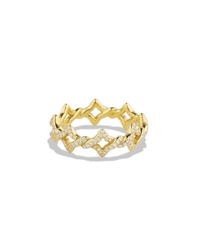 David Yurman Quatrefoil Stacking Ring with Diamonds in Gold