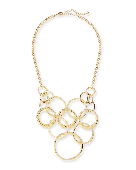 Long Circles Chain Bib Necklace, Golden