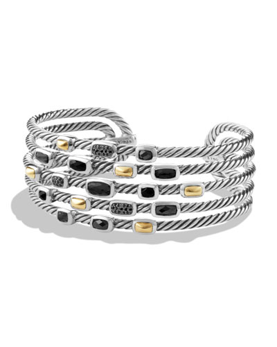 Confetti Wide Cuff Bracelet with Black Onyx, Black Diamonds and Gold