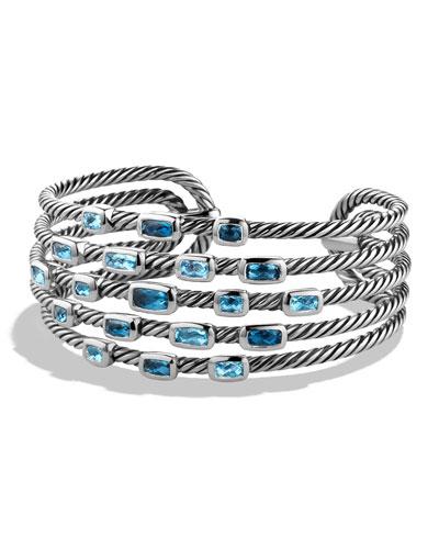 Confetti Wide Cuff Bracelet with Blue Topaz and Hampton Blue Topaz