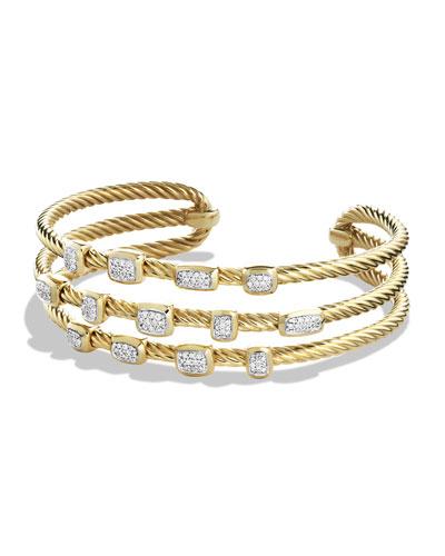 Confetti Narrow Cuff Bracelet with Diamonds in Gold
