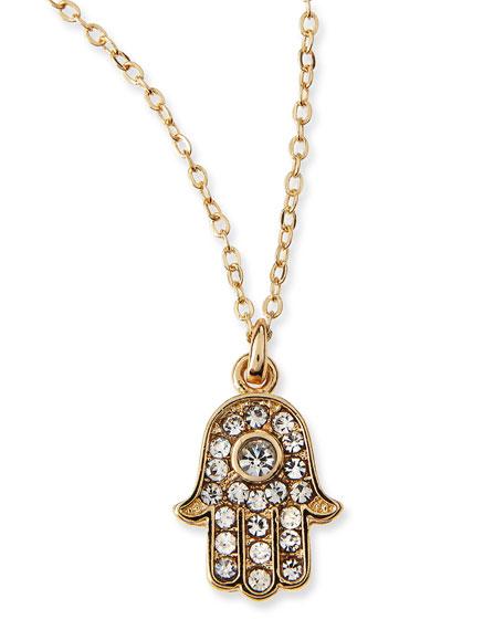 Hamsa Charm Pave Crystal Necklace