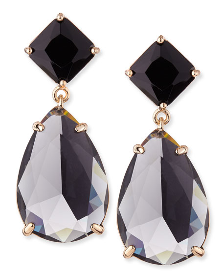 Mila Faceted Stone Drop Earrings, Gold Plate