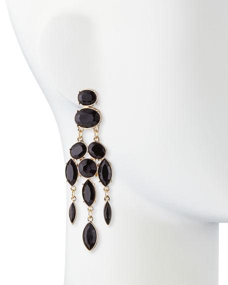 Black Drop Chandelier Earrings