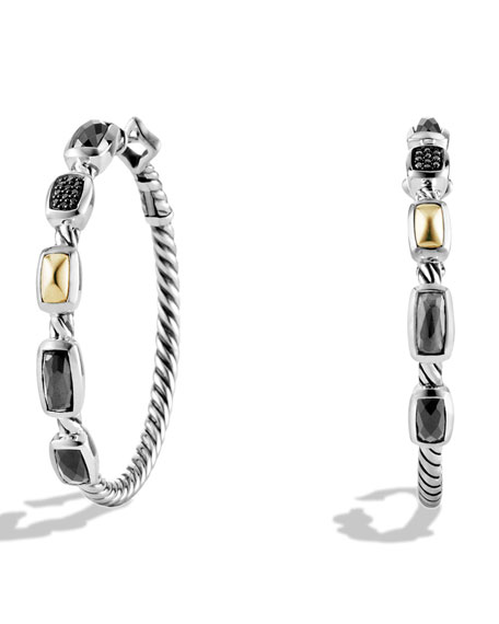 David Yurman Confetti Hoop Earrings with Crystal, Black