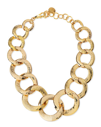 Nest Hammered Gold-Plated Chain Link Necklace